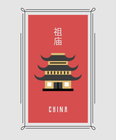 T-Shirt Design Maker Featuring Chinese Culture Icons 1687-el1