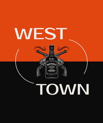 Wild West T-Shirt Design Maker Featuring a Whisky Bottle Graphic 1705b-el1