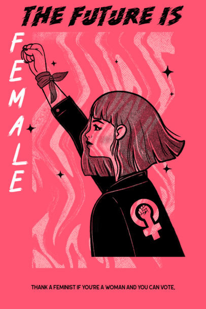 Poster Design Maker Featuring a Feminist Girl Protesting 2572d