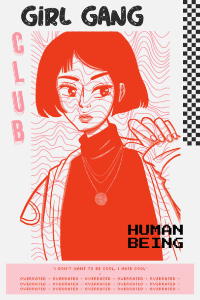 Acid-Style Poster Template with an Uncool Girl Illustration 2572g