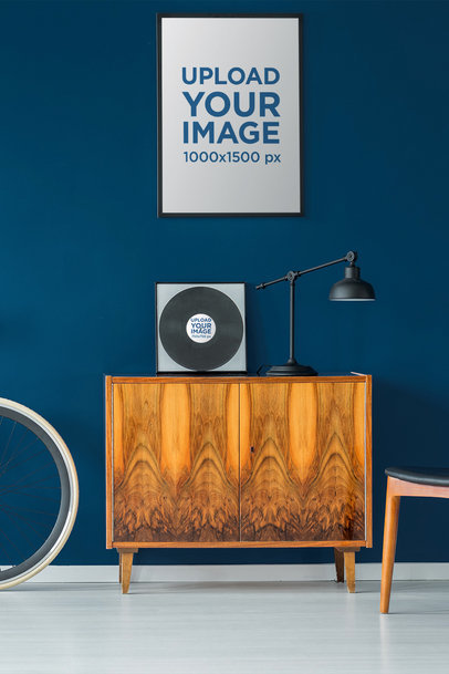 Home Decor Mockup Featuring a Customizable Poster and a Vinyl 36960-r-el2