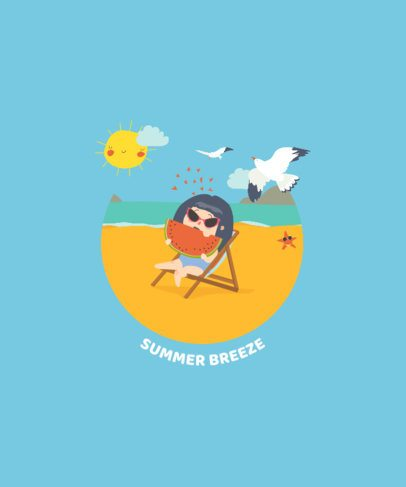 T-Shirt Design Template Featuring Summer Cartoon Graphics 1877-el1
