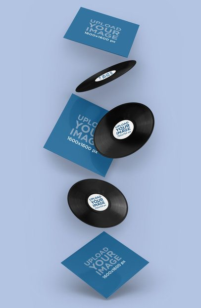 Mockup Featuring Several Vinyl Records Floating 4542-el1