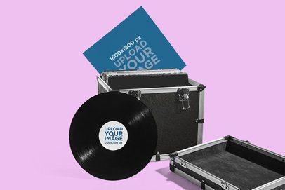 Mockup of a Vinyl Record in a DJ's Equipment Case 4534-el1