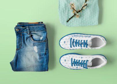 Sneakers Mockup Featuring a Pair of Jeans 36481-r-el2