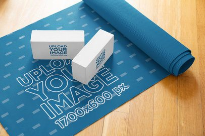 Mockup of Two Yoga Blocks over a Training Mat 37083-r-el2