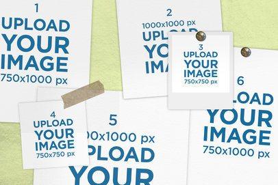 Mood Board Mockup Featuring Some Pinned Polaroid Frames 3871-el1