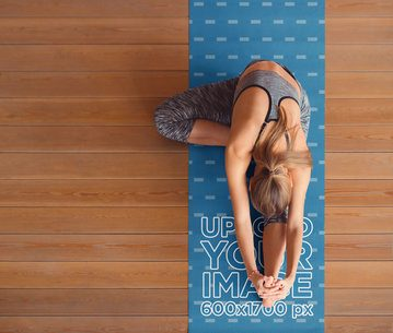 Top-View Mockup of a Woman Stretching on a Yoga Mat 37101-r-el2