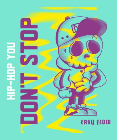 Cartoonish T-Shirt Design Creator with a Hip Hop Styled Skull 2605d