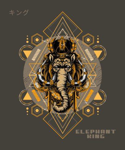 T-Shirt Design Generator Featuring an Elephant with Ornamentals 1792c-el1