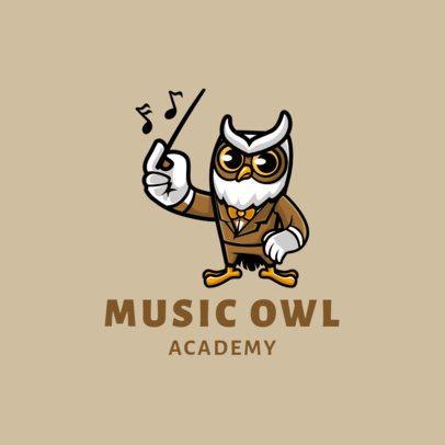 Logo Template for a Music Academy with an Owl Cartoon 1773c-el1
