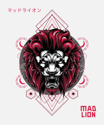 T-Shirt Design Maker Featuring an Angry Lion Graphic and Abstract Geometric Shapes 1792l-el1