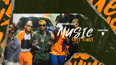 YouTube Banner Design Template for a Hip-Hop Artist's Channel 2604b