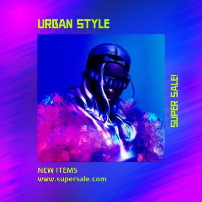 Instagram Post Maker for a Streetwear Collection with Iridescent Graphics 2609c