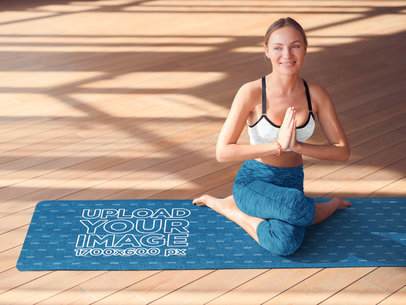 Yoga Mat Mockup Featuring a Happy Woman Doing a Complicated Pose 37222-r-el2