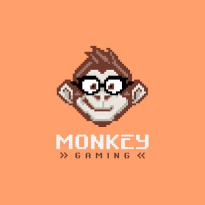 Gaming Logo Template Featuring a Cool Pixel Monkey 1861b-el1