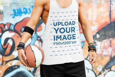 Tank Top Mockup of a Man Preparing to Play Street Basketball 37760-r-el2