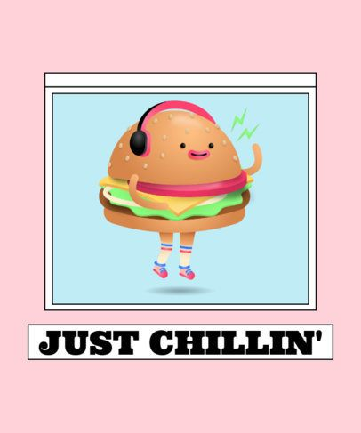 T-Shirt Design Template Featuring a Smiling Burger Character Illustration 2650f