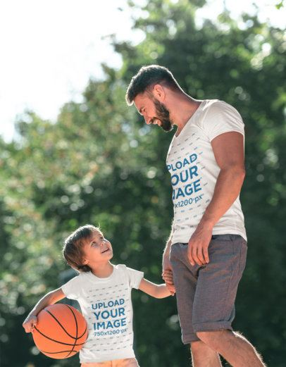 T-Shirt Mockup of a Father Playing Basketball with His Kid 37491-r-el2