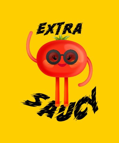 T-Shirt Design Template Featuring a Happy Tomato Cartoon 2652i