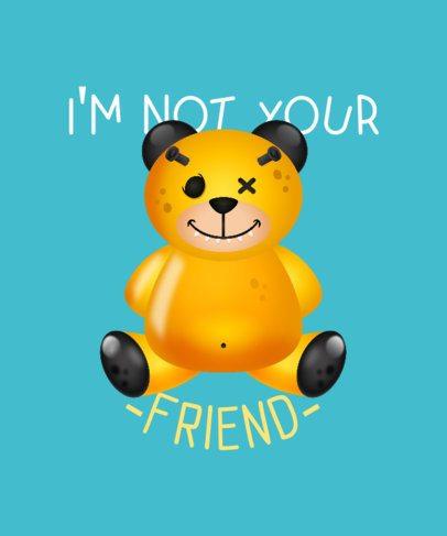 T-Shirt Design Generator Featuring a Mean Teddy Bear Illustration 2652h