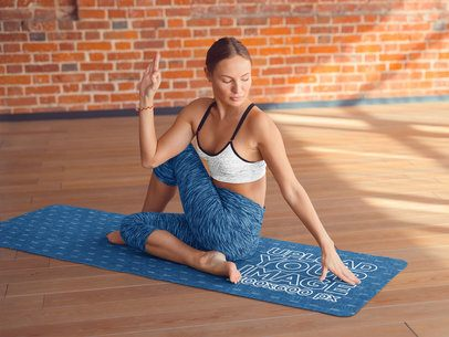 Yoga Mat Mockup Featuring a Serious Woman Doing a Pose 37220-r-el2