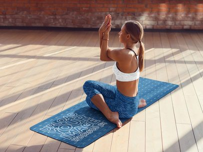 Mockup of a Flexible Woman on a Yoga Mat 37221-r-el2