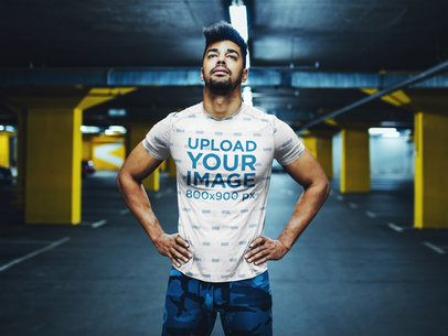 Mockup of a Man with a Sublimated Jersey Standing at an Underground Parking 37983-r-el2