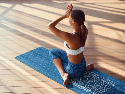 Yoga Mat Mockup Featuring a Woman Focused on Her Practice 37219-r-el2