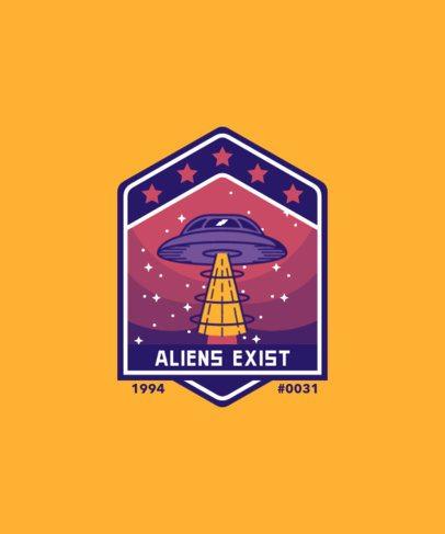T-Shirt Design Template Featuring an UFO Badge 1940a