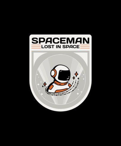 T-Shirt Design Featuring an Astronaut Badge 1939b