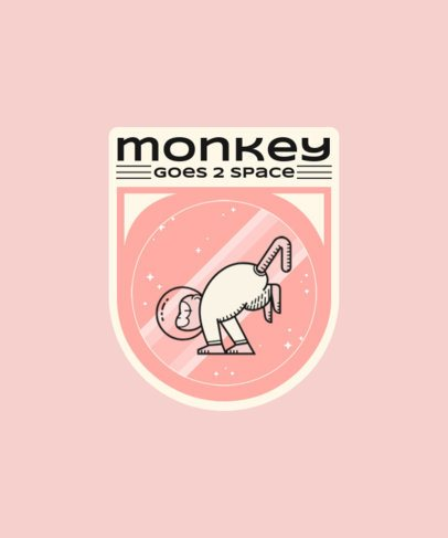 T-Shirt Design Template Featuring a Badge of a Space Monkey 1939e
