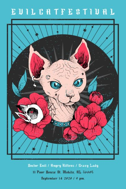 Customizable Poster Design Creator Featuring a Cat Illustration 1937c