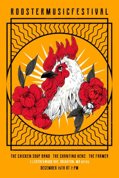 Poster Design Template with an Illustration of a Rooster for a Local Festival 1937d