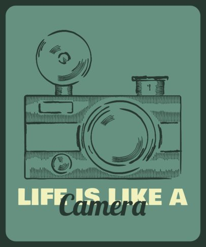T-Shirt Design Template with a Vintage Camera Graphic 2637a