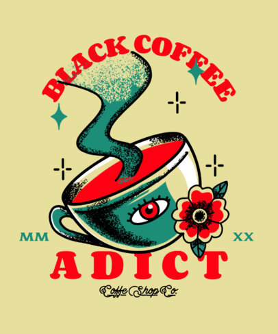 T-Shirt Design Creator Featuring an Ink Illustration of a Coffee 2629b
