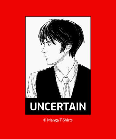 T-Shirt Design Template with a Monochromatic Manga Illustration 2635e