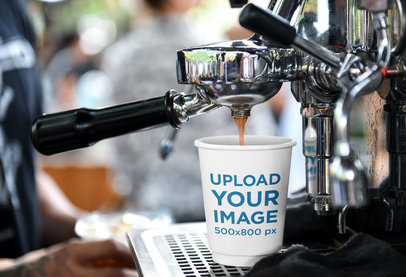 Coffee Cup Mockup Featuring an Espresso Machine 35998-r-el2