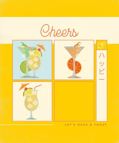 T-Shirt Design Creator Featuring Cocktails with Flowers 2633e