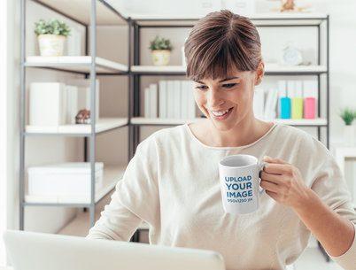 Coffee Mug Mockup of a Woman Working From Home 37859-r-el2