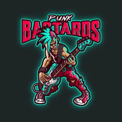 Logo Template Featuring a Punk Guitarist 3378a