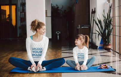 Long Sleeve Tee Mockup of a Woman and Her Daughter Stretching 37325-r-el2