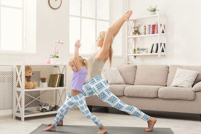 Leggings Mockup of Mother and Daughter Doing Yoga Together at Home 36987-r-el2