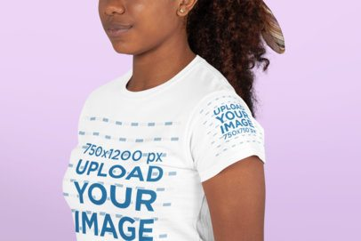 T-Shirt Mockup of the Closeup of a Curly-Haired Woman 27153
