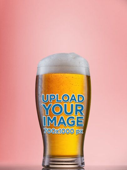 Mockup of a Beer Glass with Foam on Top 35662-r-el2