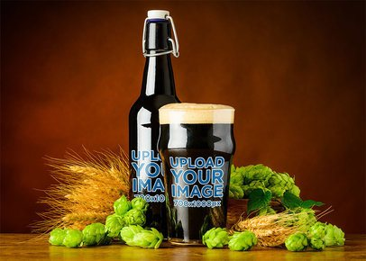 Mockup of a Beer Bottle and a Glass Surrounded by Wheat 35535-r-el2