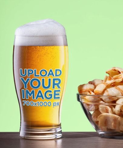 Mockup of a Beer Glass Next to a Bowl of Snacks 35661-r-el2