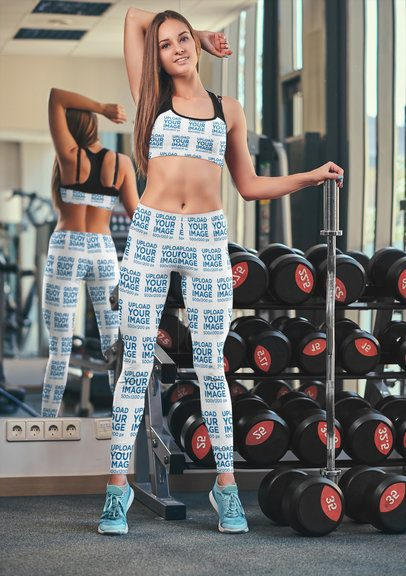Mockup of a Long-Haired Woman Wearing Leggings and a Sports Bra in the Gym 38561-r-el2