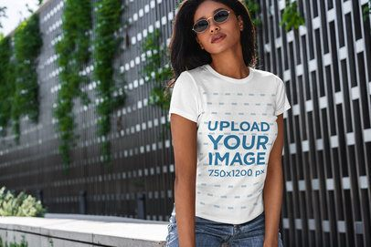 T-Shirt Mockup Featuring a Serious Woman with Sunglasses 4823-el1