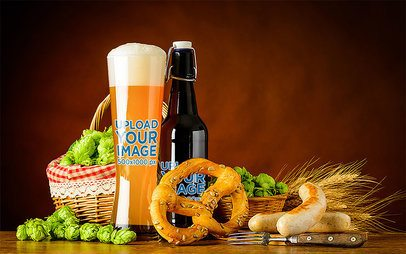 Mockup of a Glass and a Bottle of Beer Featuring a Pretzel 35530-r-el2